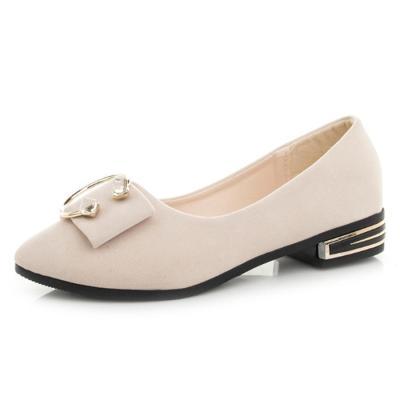 Plain Chunky Low  Heeled  Velvet Round  Toe Loafers