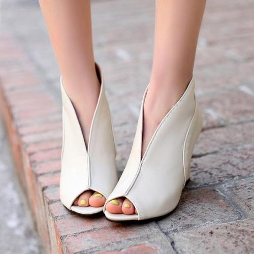 Peep Toe Slip-On Wedge Heel Women's Sandals