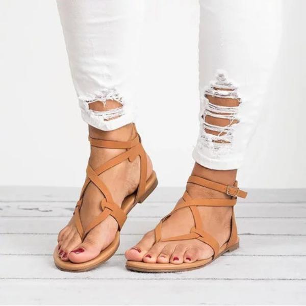 Large Size Adjustable Buckle Flat PU Sandals