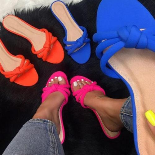 Fashion Summer Plain  Peep Toe Casual Slippers