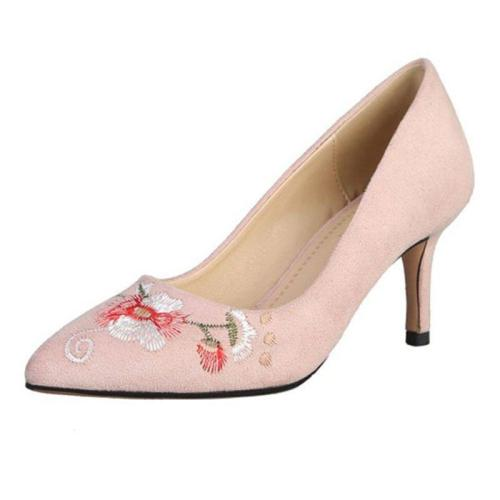 Stiletto Heel Floral Embroidered Elegant Shoes