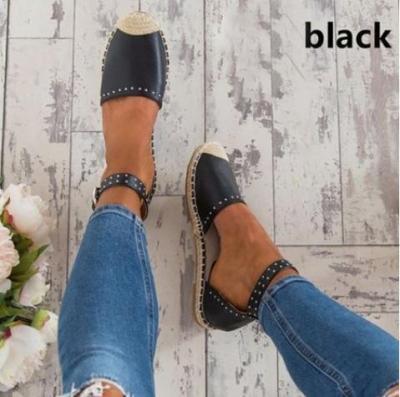 Staw Woven Toe Adjustable Buckle Flat Sandals
