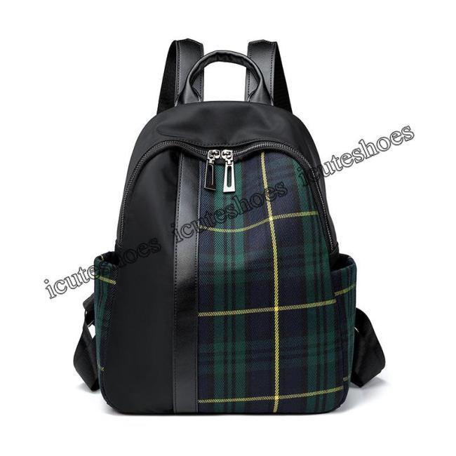plaid shoulder bag women's new Oxford cloth backpack travel bag