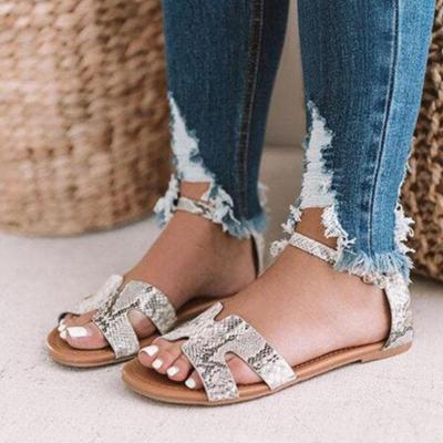 Women's Leopard/Snake Print Microfiber Peep Toe Adjustable Buckle Flat Sandals