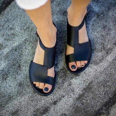 Black Asymmetric Ankle Strap Simple Sandals