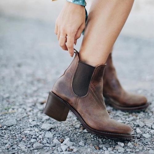 Stylish Leather High Heel Women Boots