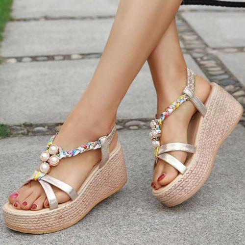 Rhinestone Embellished Open Toe Elastic Band Wedge Sandals