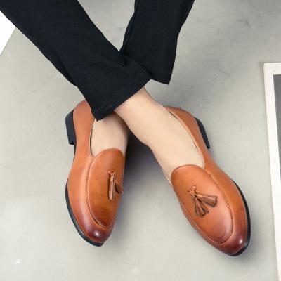 Unisex Large Size Leather Tassels Flat Heel Non-slip Oxford Shoes