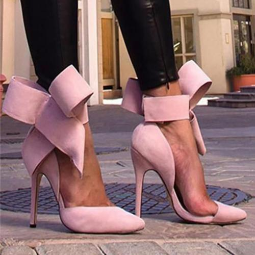 Elegant Women Big Bow Pointed Toe Stilettos
