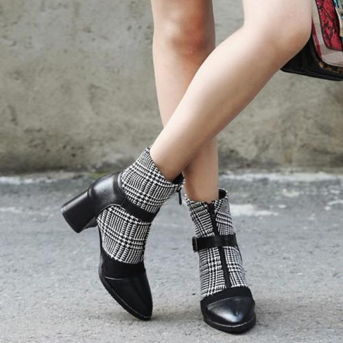 Sweet Style Women Chic Grid Splicing Chunky Heel Slip-on Ankle Boots