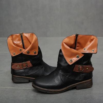 Women Round Toe Winter Low Heel Boots