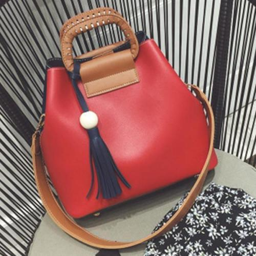 Stylish PU Leather Handbag Bucket Bag Crossbody Bag