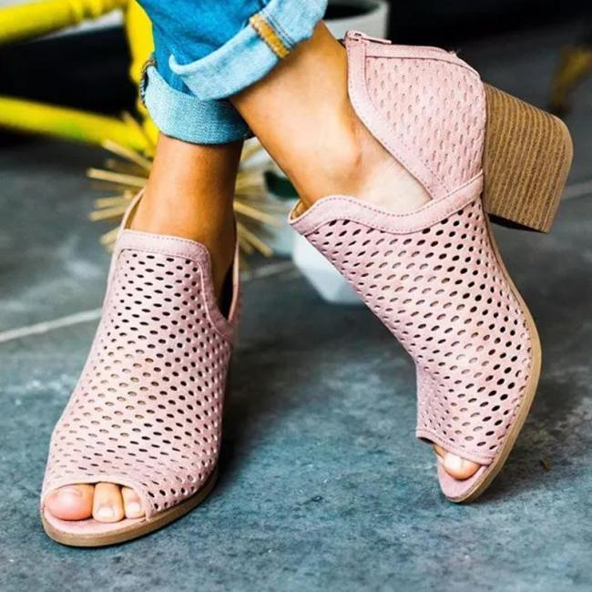 Pink Hollow Peep-toe Chunky Heels Fashion Sandals