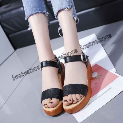 Hollow Wedge Sandals Women Thick-Soled Sponge Cake Buckle High-Heeled Roman Shoe