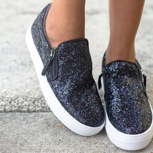 Chic Sequin Side-Zipper Flat Loafers