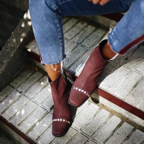 Rivet Square Toe Side-Zipper Chunky Ankle Boots
