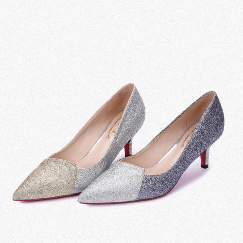 Women Sparkling Glitter Color Block Wedding Party Heels