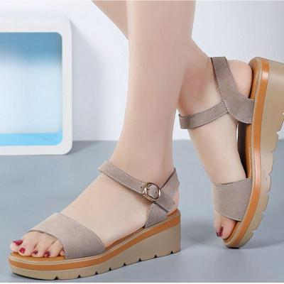 suede leather sandals women med heels flat low wedges ankle buckle