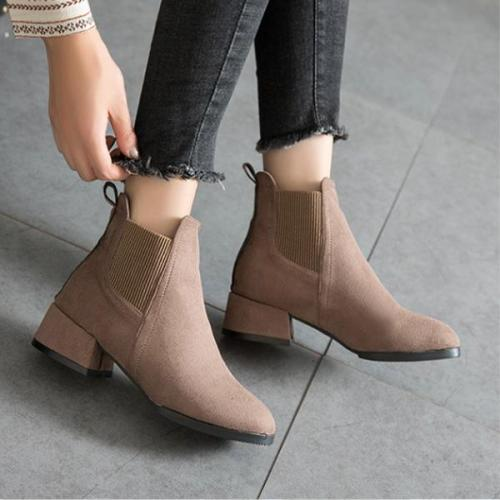 Ankle Boots for Women Platform Winter Fur Snow Leather