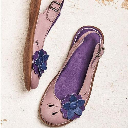 Women Flower Trim Adjustable Buckle Soft Slip On Casual Flats