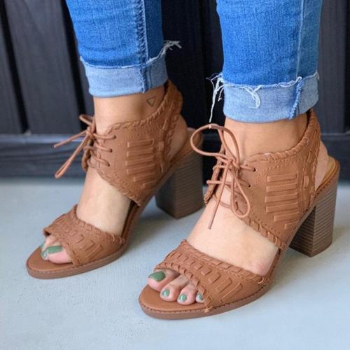 Women Lace-Up Chunky Heels Ankle Back Sling Sandals
