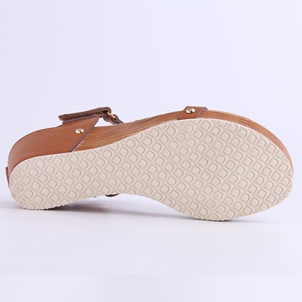Summer Clip Toe Wedge Heel Casual T-Bar Sandals
