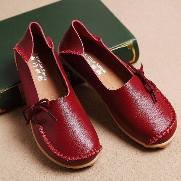 Women Large Size Pure Color Slip On Lace Up Soft Sole Comfortable Flat Loafers