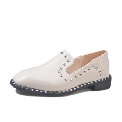 Plain Square Toe Rivets Casual Artificial PU Flat & Loafers