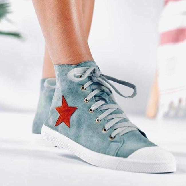 Casual Suede Flat Heel Lace-up Sneakers