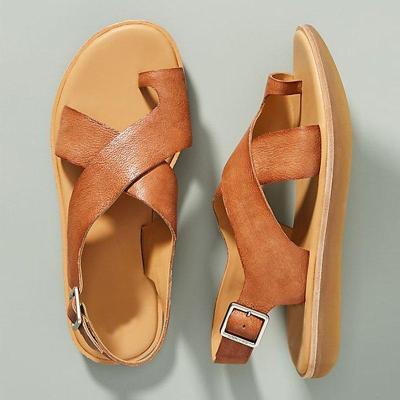 Women Casual Criss-Cross Toe Ring Slingback Sandals