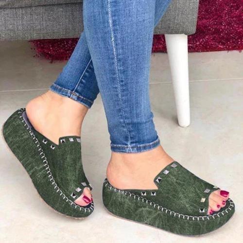 Casual Slip On Sandals Wedge Heel Rivet Women's Shoes
