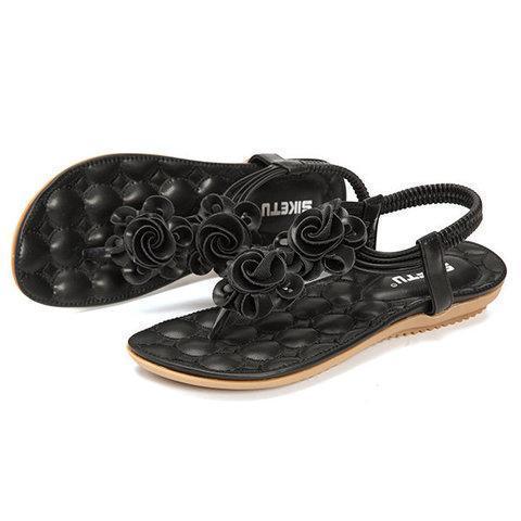 Flower Bohemia Clip Toe Elastic Flat Sandals For Women