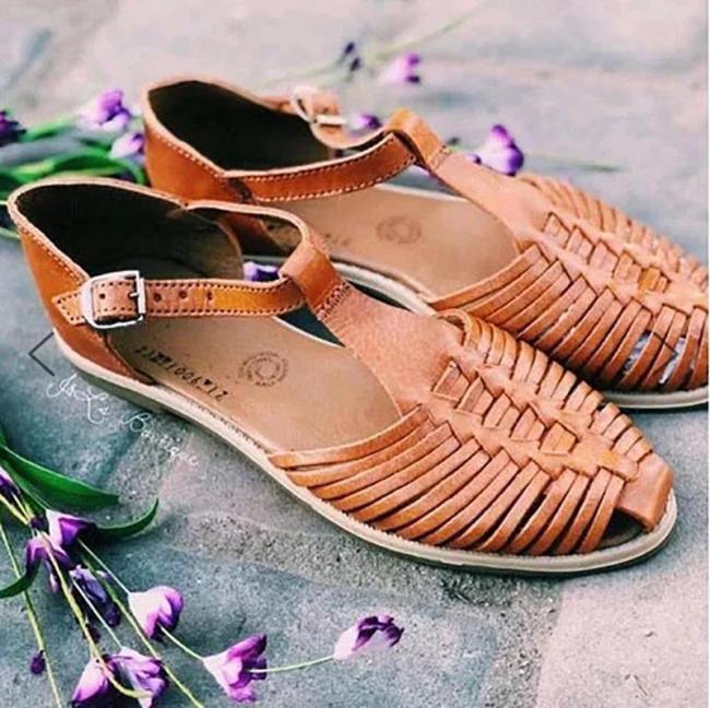 Women Brown Hollow Buckle Espadrille Sandals
