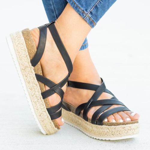 Strappy Espadrille Flatform Sandal Wedges