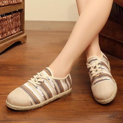 Linen Stripe Flat Heel Lace Up Loafers
