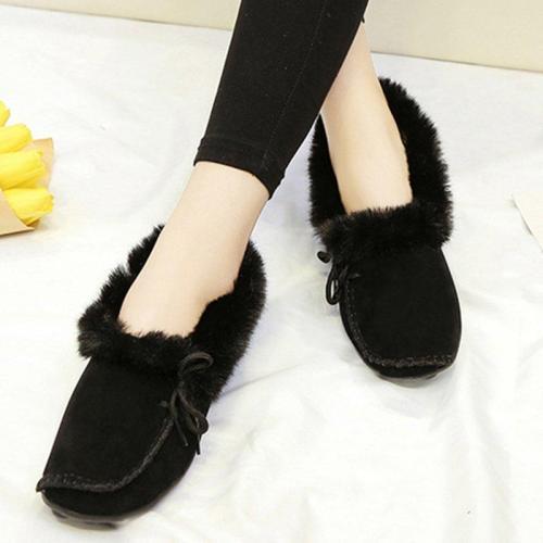 Women's Fur Winter Suede Flat Heel Snow Boots