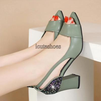 New Summer Sandals Chunky Heel Leather Open Toe Fish Mouth High Heels