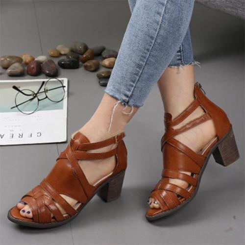 Women Summer Outdoor Pu Chunky Heel Sandals