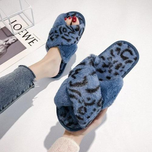 Leopard Cross Indoor Warm Non-slip Fur Slippers