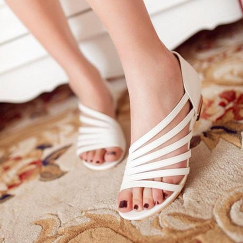 Girly Open Toe Strap Hollow Golden Low Heel Sandals