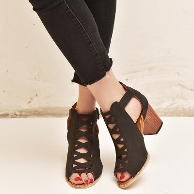 Women's PU Peep Toe Adjustable Buckle Middle Wedge Sandals