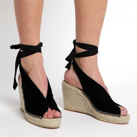 Women's PU Peep Toe Lace-up Espadrille High Wedge Sandals