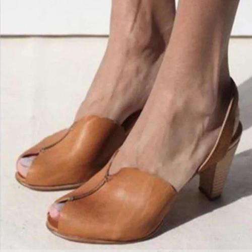 Women's PU Peep Toe Slip-On High Chunky Heel Sandals