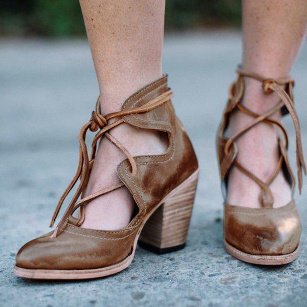 Women Chunky Heel Lace-Up All Season Boots