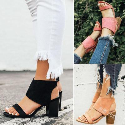 Women's PU Round Toe Zipper Middle Chunky Heel Sandals
