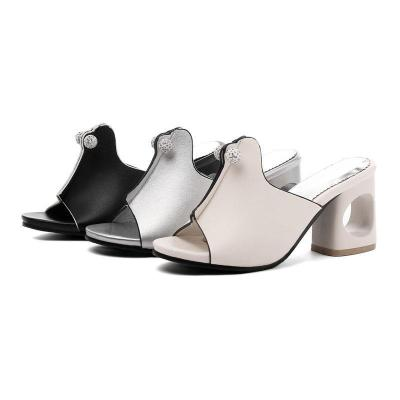 Summer Casual Chunky Heel Slippers