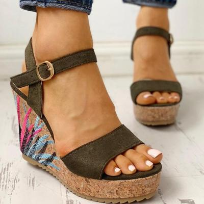 Wedges Shoes High Heels Casual Platform Print Comfortable Summer ankle-strap Women Shoes Woman Sandals