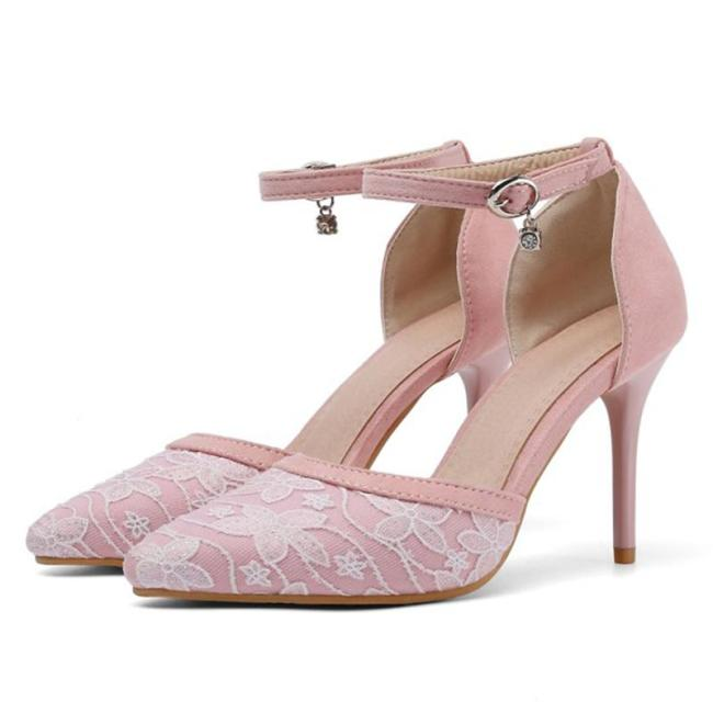 Sweet Pointed Toe Lace Stiletto Heel Shoes