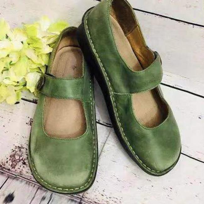 Square Toe Buckle Hollow Flat Casual Loafers Shoes
