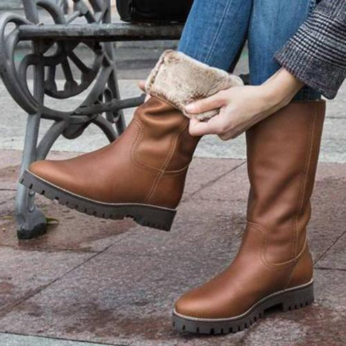 Casual Antiskid Folding Mid-heel Boots